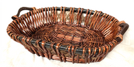 """Oval willow and seagrass basket with wooden handles 22""""x17""""x4.5""""H (Dimensions exclude handles)"""