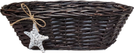"""Oval, brown  willow basket with a reverse color star ornament 18""""x8""""x6""""H"""