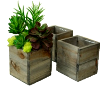 "Set of 3 Lined square wood planters L: 8""x8""x7""H, M: 7""x7""x6""H, S: 6""x6""x5""H"