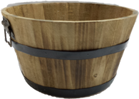"Round wood basket with metal handles & trim 11""Dx6""H"
