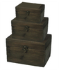 "Set of 3 Wood boxes Trunk  L:17""x10""x11""H , M:14""x8""x9""H,  S:10""x6""x7""H"