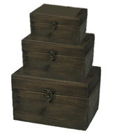 "Set of 3 Wood boxes Trunk  L:17""x10""x11""H , M:14""x8""x9""H,  S:10""x6""x7""H"