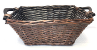 "Rectangular willow basket with wooden handles 17""x10""x7""H"