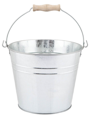 "Galvanized bucket with handle 9.2""Dx7.2""H (min. 6, 24/crtn)"
