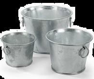 """S/3 Round galvanized buckets L: 9""""Dx7""""H, M: 7""""Dx6""""H, S: 6""""Dx5.5""""H (min. 2, 8/crtn)"""