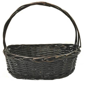 """Medium in S/3 Oval willow basket with handle M:17""""x12""""x5.5""""x14""""OH"""