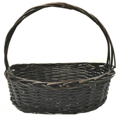 """Small in Set 3 Oval willow basket with handle S:15""""x10""""x5""""Hx12""""OH"""
