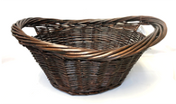 "Large stained willow ""Laundry Basket"" with handles 23""x17""x10""H"