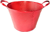 """Round red metal container 10""""Dx7""""H (Handle to handle 13"""") (min.4, 20/crtn)"""