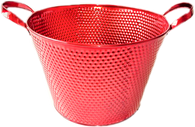 "Round red metal container 10""Dx7""H (Handle to handle 13"") (min.4, 20/crtn)"