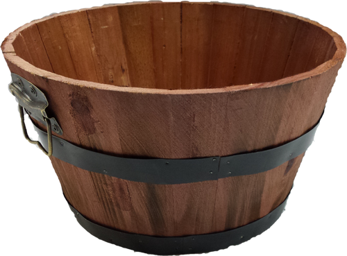 "Mahogany Color Round wood basket with metal handles & trim 11""Dx6""H"