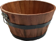 """Mahogany Color Round wood basket with metal handles & trim 11""""Dx6""""H"""