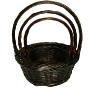 "Set of 3 Dark brown round willow baskets with handle  Large:14""Dx5.5""Hx15.5""  Medium: 12""x4.5""HX13.5""H  Small: 10""x4""Hx12""H"