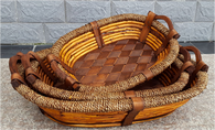Set of 3 Oval willow, wood and seagrass baskets with wooden handles