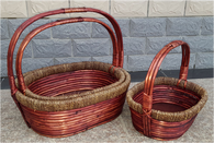 S/3 Oval willow and seagrass baskets with handle