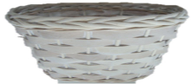 Oval willow and chipwood white basket
