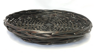 "Round stained willow & chipwood tray 14""Dx2""H"