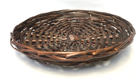 "Round stained willow & chipwood tray 12""Dx1.75""H"