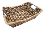 "Rectangular hyacinth & seagrass basket with metal handles 13""x10""x4""H"