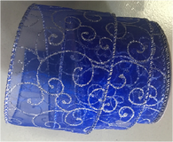 "Organza blue with silver swirl wired ribbon 25 yard/roll - 2.5"" wide"