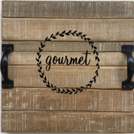 "Wood tray with metal handles and gourmet crest 11""x11""x2""H"