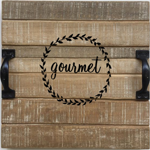 """Wood tray with metal handles and gourmet crest 11""""x11""""x2""""H"""