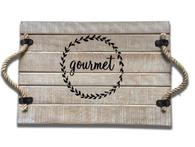 "Wood tray with rope handles and gourmet crest 13.75""x9.5""x1""H"
