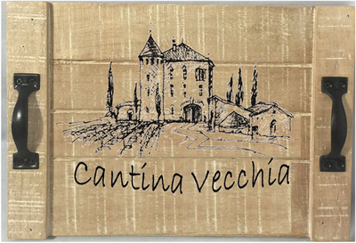 "Wood tray with metal handle ""Cantina Vecchia"" 19""x12.25""x2.25""H"
