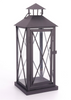 "Black iron and glass lantern 6""x6""x15""H (min 2,6/crtn)"
