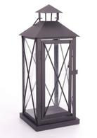 "Black iron and glass lantern 6""x6""x15""H"