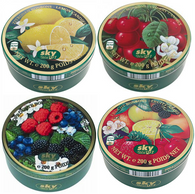 Sky assorted candy tins 200 gr., 22/cs (10 Fruit, 4 Wild Berries, 4 Cherry, 4 Lemon)