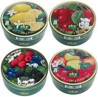 Sky assorted candy tins 200 gr., 22/cs (10 Fruit, 4 Wild Berries, 4 Cherry, 4 Lemon)