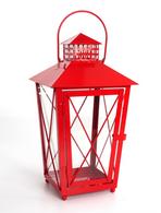 "Red metal & glass lantern 8""x8""x15""H"