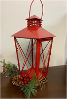 "Red metal & glass lantern 8""x8""x15""H (min 2, 6/crtn)"