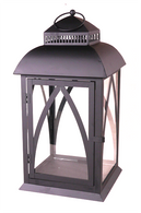 "Black metal & glass lantern 10""x10""x19""H (min 2, 2/crtn)"