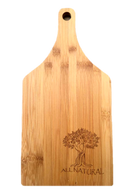 "Bamboo cutting board with ""All Natural"" engraved 5.5""x0.4""x11"""