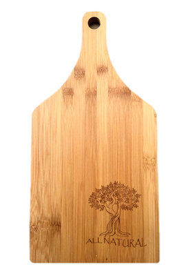 "Bamboo cutting board with ""All Natural"" engraved 6.25""x0.4""x14"""