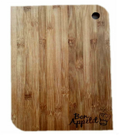"""Bamboo cutting board with """"Bon Appetit"""" engraved 6""""x0.4""""x8"""""""