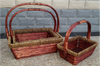 """Medium in a S/3 Rectangular willow and seagrass baskets with handle 14""""X10""""X5.25""""H"""