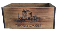 "Wood ""Cantina Vecchia"" container with metal brackets"