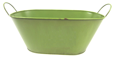 """Oval metal brushed green container w/handles 15""""x7""""x5.75""""H (min.3,20/crtn)"""