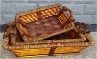 "Largest in S/3 Rectangular willow, wood and Seagrass baskets with wooden handles  19.5""X14.5""X4""H"