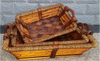 "Largest in S/3 Rectangular willow, wood and Seagrass baskets with wooden handles L:19.5""X14.5""X4""H"