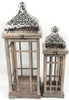 """Set of 2 Vintage wood, glass and iron lanterns Small:6.5""""x6.5""""x21""""H, Large:9.5""""x9.5""""x26.5""""H"""