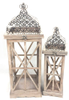 "Set of 2 Vintage wood, glass and iron lanterns Small:6.5""x6.5""x21""H, Large:9.5""x9.5""x26.5""H"