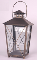 "Copper colour metal & glass lantern 8""x8""x15""H (min 2, 6/crtn)"