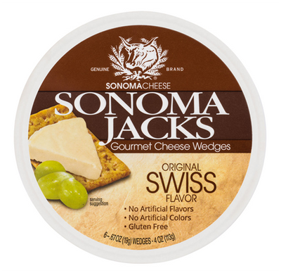 Sonoma Jacks Gourmet shelf-stable Cheese Wedges - Original Swiss 113 gr., 12/cs