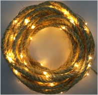 "20 warm white LED light garland - JUTE ROPE, approx 2 m (78"") long (3 AA batteries not included)"