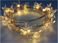"20 LED light garland - ACRYLIC STARS, approx 2 m (78"") long (3 AA batteries not included)"