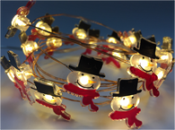 "20 warm white LED light garland - SNOWMAN, approx 2 m (78"") long (3 AA batteries not included)"